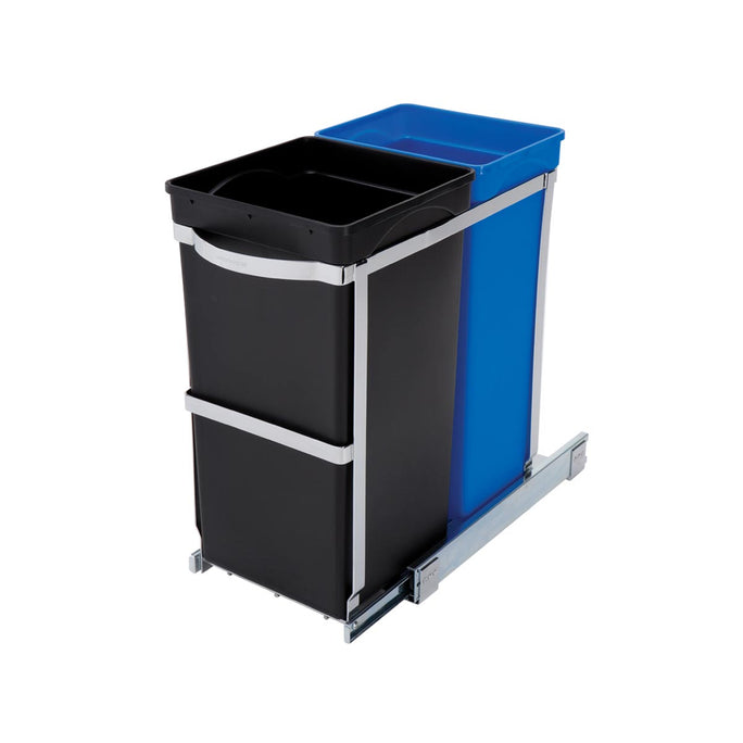35L dual compartment under counter pull-out can - 3/4 view main image