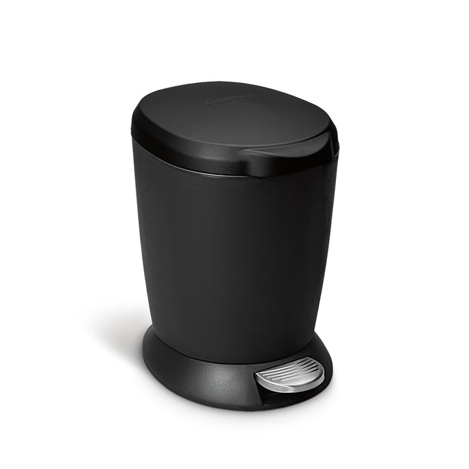 6L round plastic step can - black - main image