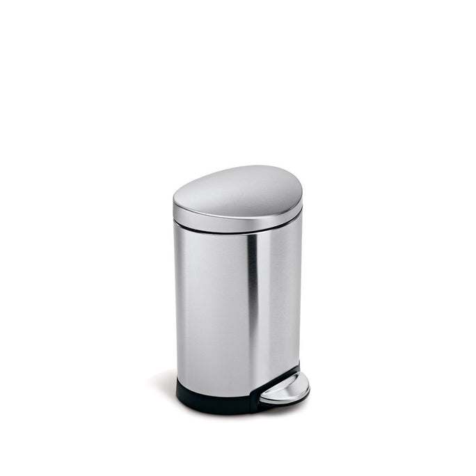6L semi-round step can - brushed finish - 3/4 view main image