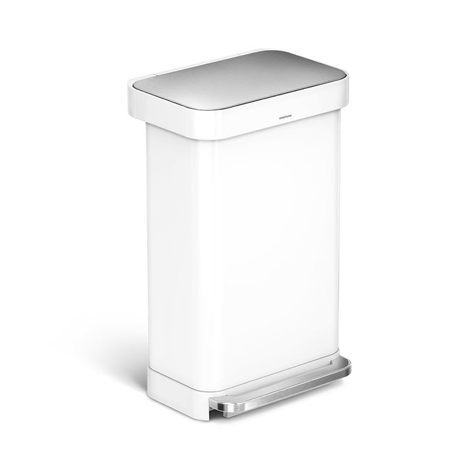 45L rectangular step can with liner pocket - white finish - main image