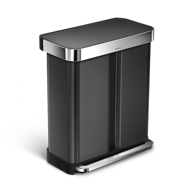 58L dual compartment rectangular step can with liner pocket - black stainless steel - main image