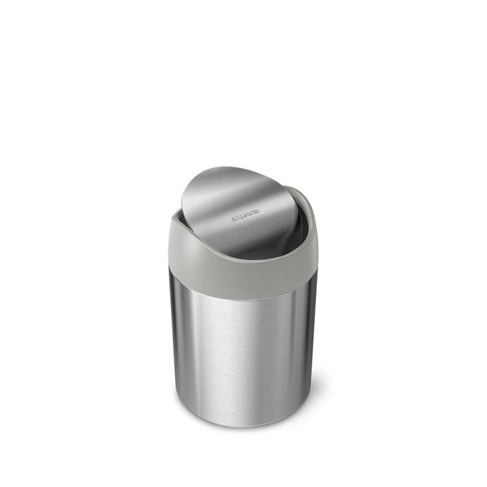 mini can - brushed stainless steel w/ grey trim - main image