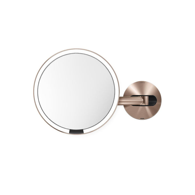 rechargeable wall mount sensor mirror - rose gold finish - main image