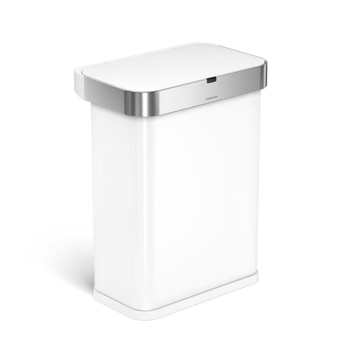 58L rectangular sensor can with voice and motion control - white finish - 3/4 view main image
