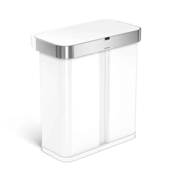 58L dual compartment rectangular sensor can with voice and motion control - white finish - 3/4 view main image