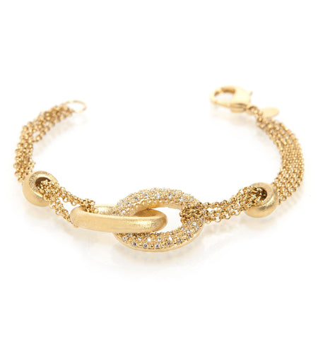 Simulated Diamond Interlocking Multi Chain Bracelet
