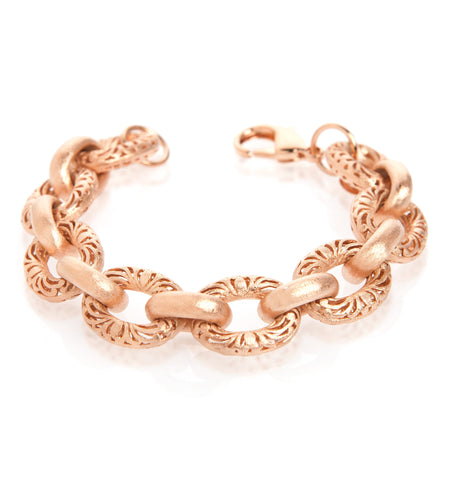 Rolo Filagree + Solid Satin Link Rose Gold Toggle Bracelet