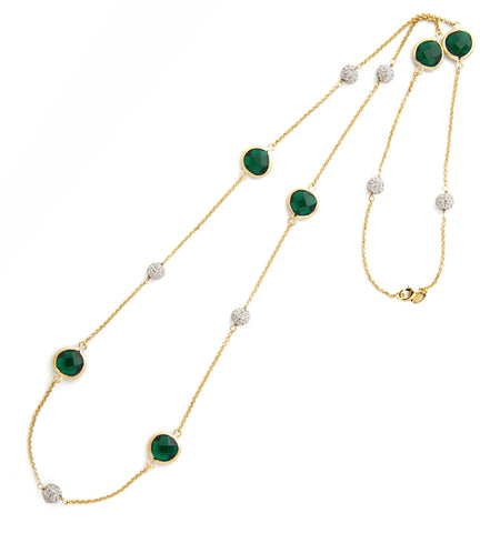 Emerald + Simulated Diamond Station Necklace