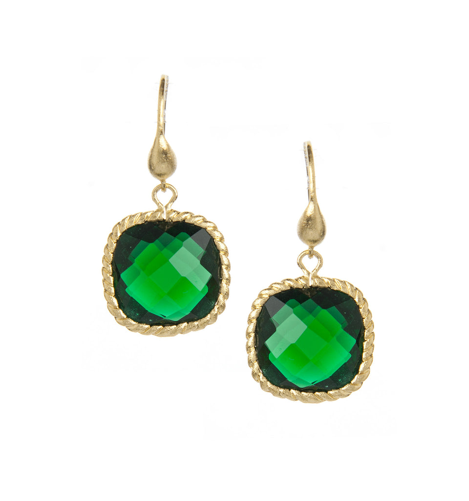 Emerald Cushion Dangle Earrings
