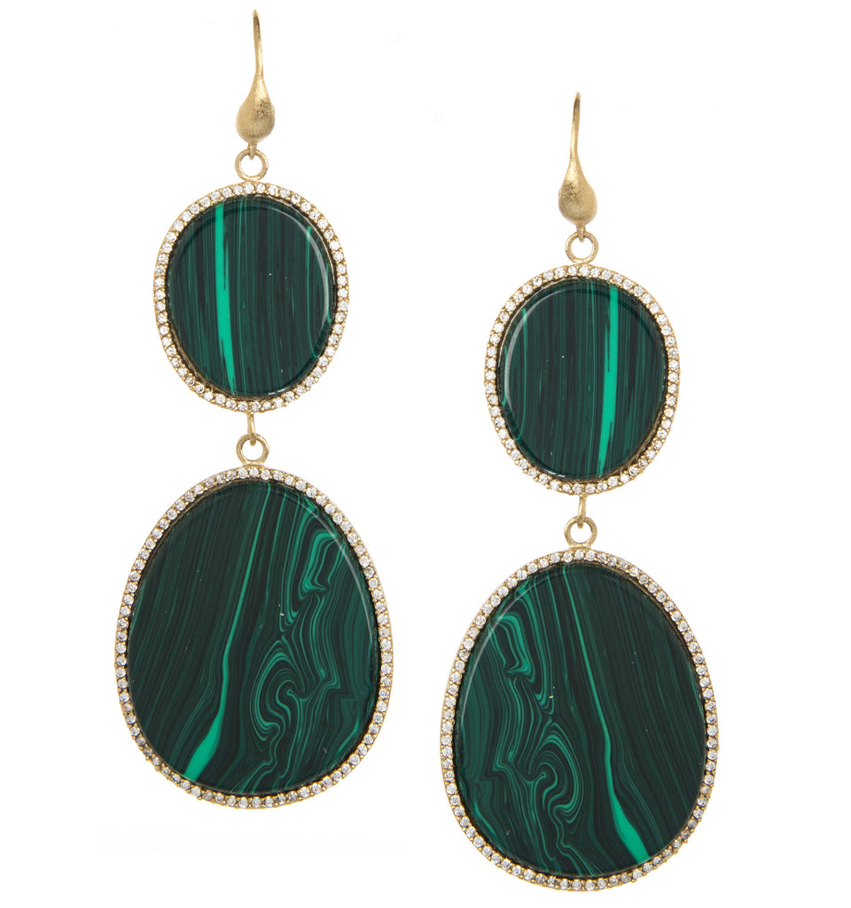 Malacite + Simulated Diamond Sliced Double Drop Earrings