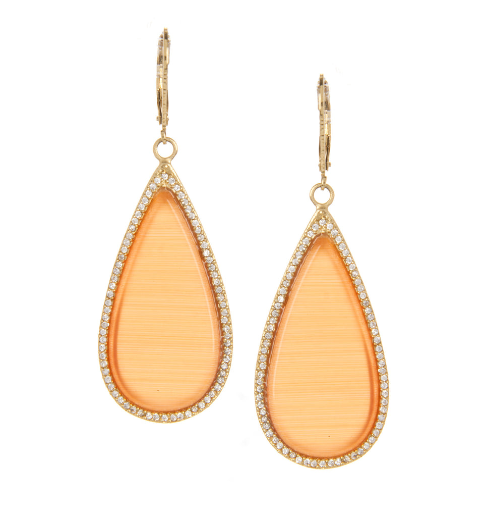 Orange Cat's Eye + CZ Dangle Earrings