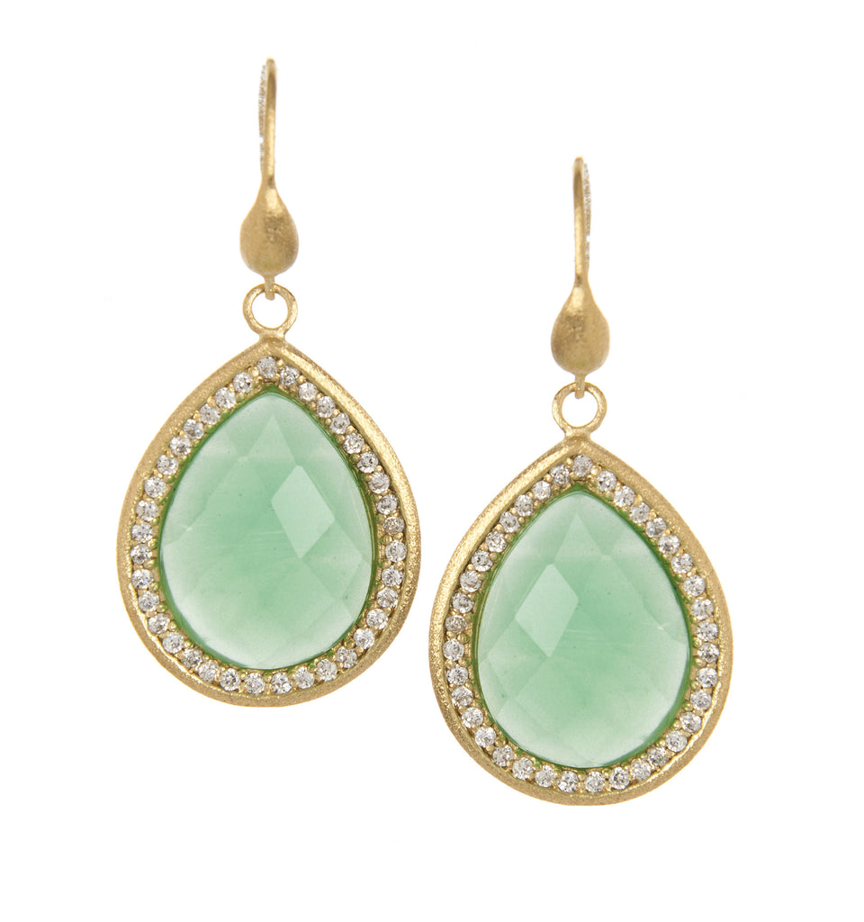 Midori + Simulated Diamonds Dangle Earrings
