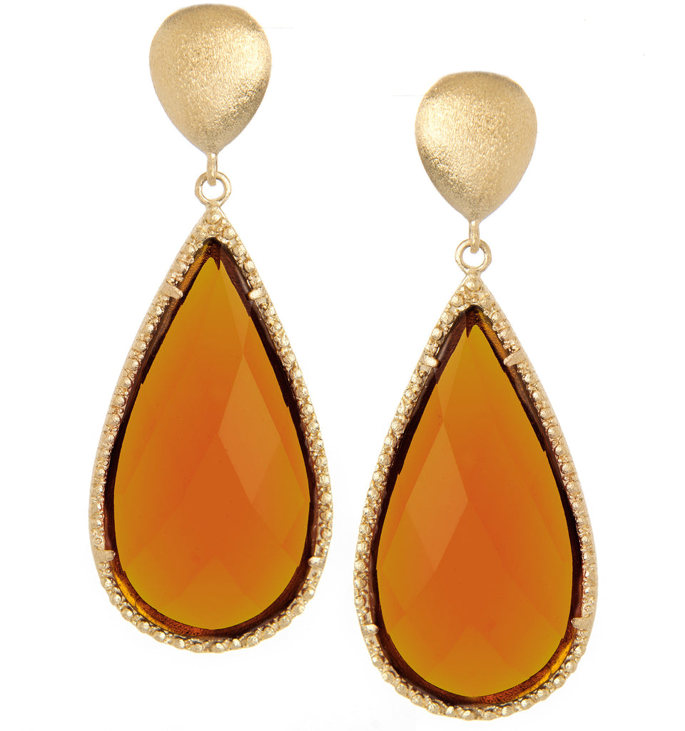 Amber Citrine Teardrop Earrings