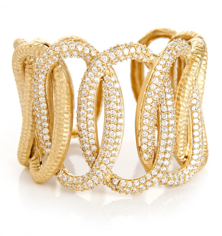 Interlocking Oval Simulated Diamond Cuff