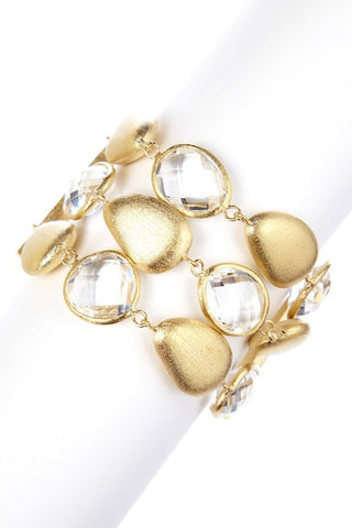 Rock Crystal + Satin Pebble 3 Row Bracelet