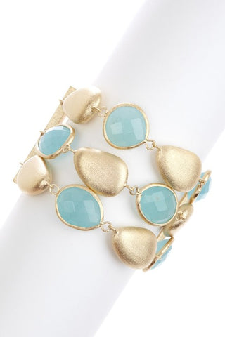 Caribbean Blue Quartzite + Satin Pebble 3 Row Bracelet