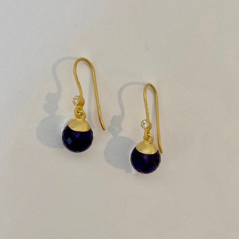 Amethyst Bead Drop Earrings _ Closeout