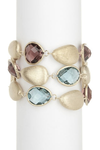 Raspberry + Denim + Satin Pebble 3 Row Bracelet - Closeout