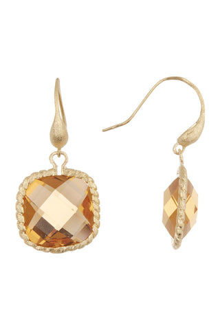 Citrine Cable Cushion Dangle Earrings