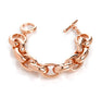 Rose Gold Polished Rolo Link Toggle Bracelet - 7.5""