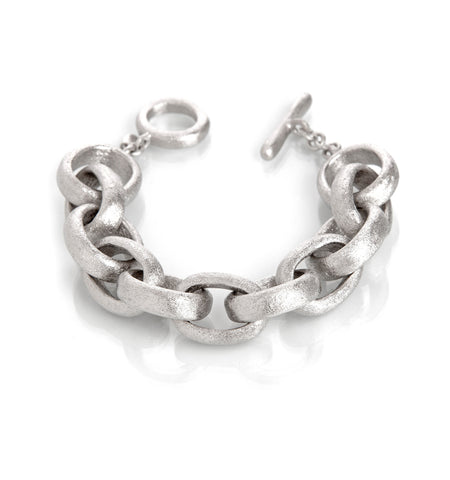 Rolo Rhodium Link Toggle Bracelet
