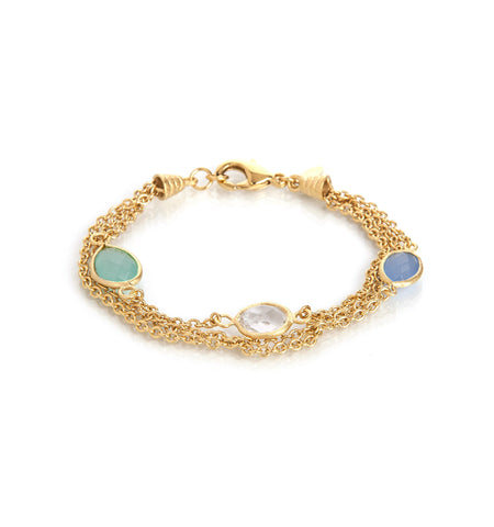 Chalcedony & Rock Crystal Multi Chain Bracelet