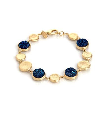 Electric Blue Druzy Coin Bracelet