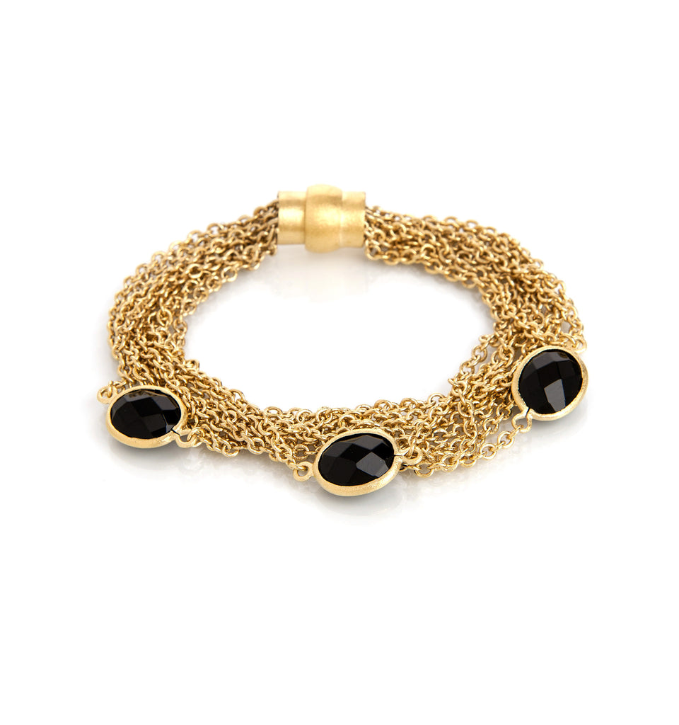 Black Onyx + Multi Chain + Magnetic Bracelet - Closeout