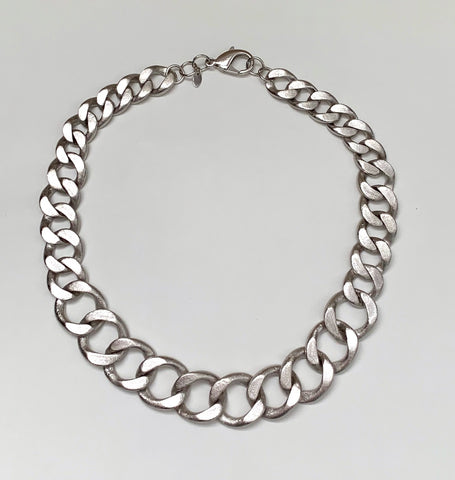 Rhodium Curb Link Necklace -Closeout