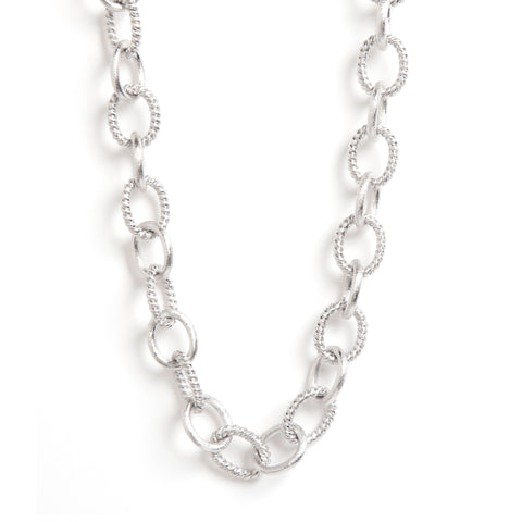 "Rhodium Satin Multi Oval Link 18"" Necklace"