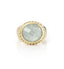 Caribbean Blue Quartzite Oval East West Twisted Bezel Ring