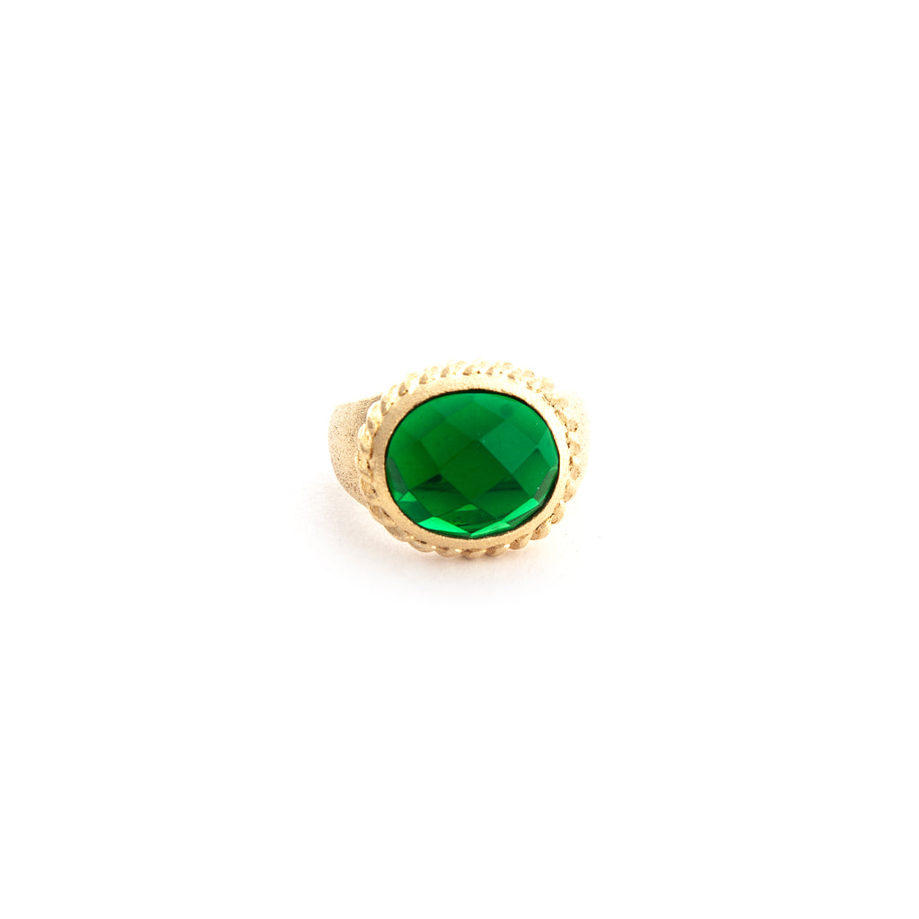 Emerald Oval East West Twisted Bezel Ring