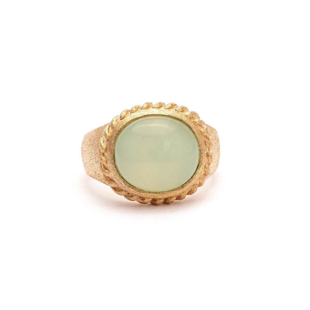 New Jade Oval East West Twisted Bezel Ring