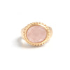 Rose Quartz Oval East West Twisted Bezel Ring