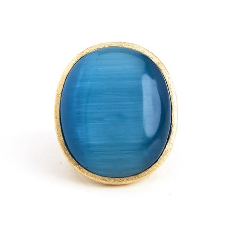 Aqua Cat's Eye Oval Ring
