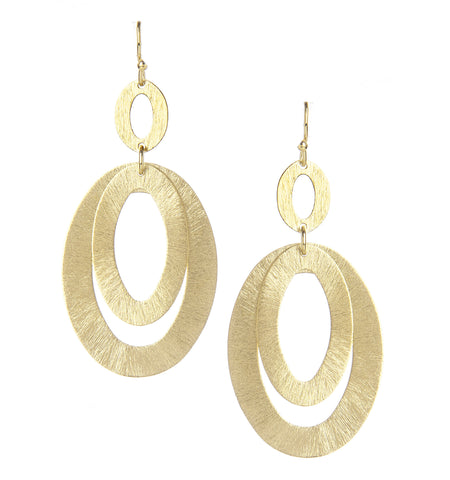 Brushed Oval Cutout Earrings