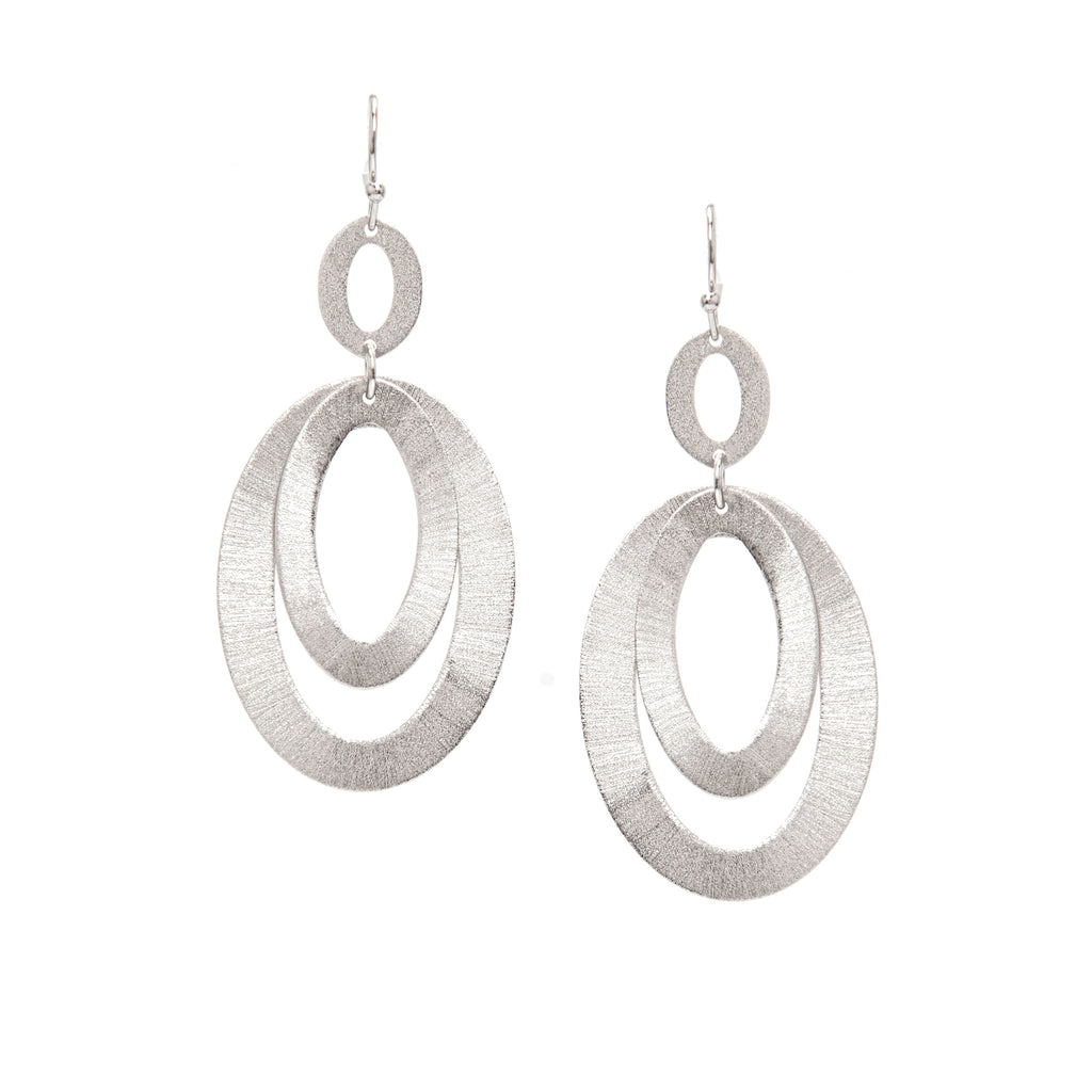 Rhodium Layered Textured Oval Link Earrings