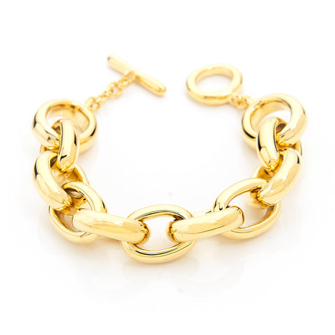 "Polished Rolo Link Toggle Bracelet - 8"" Length"