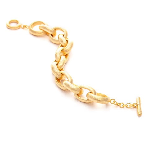 "Satin Rolo Link Toggle Bracelet - 8"" Length"