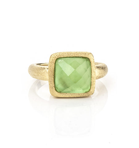 Kiwi Doublet Square Satin Stack Ring