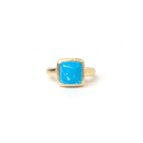 Cabochon Magnesite Square Satin Stack Ring