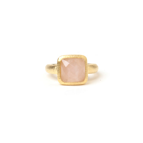 Rose Quartz Square Satin Stack Ring