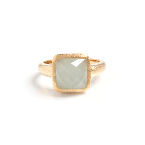 Caribbean Blue Quartzite Square Satin Stack Ring