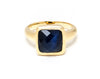 Navy Blue Cat's Eye Square Satin Stack Ring