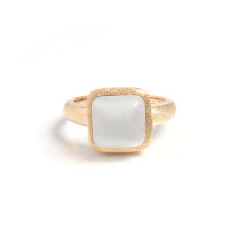 White Cat's Eye Square Stack Ring