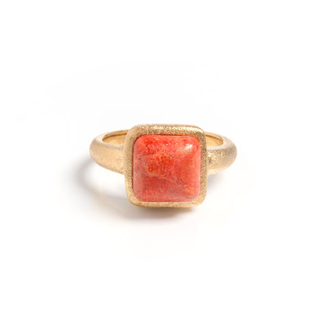 Coral Square Satin Stack Ring
