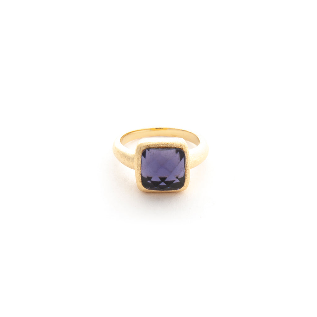 Iolite Square Satin Stack Ring