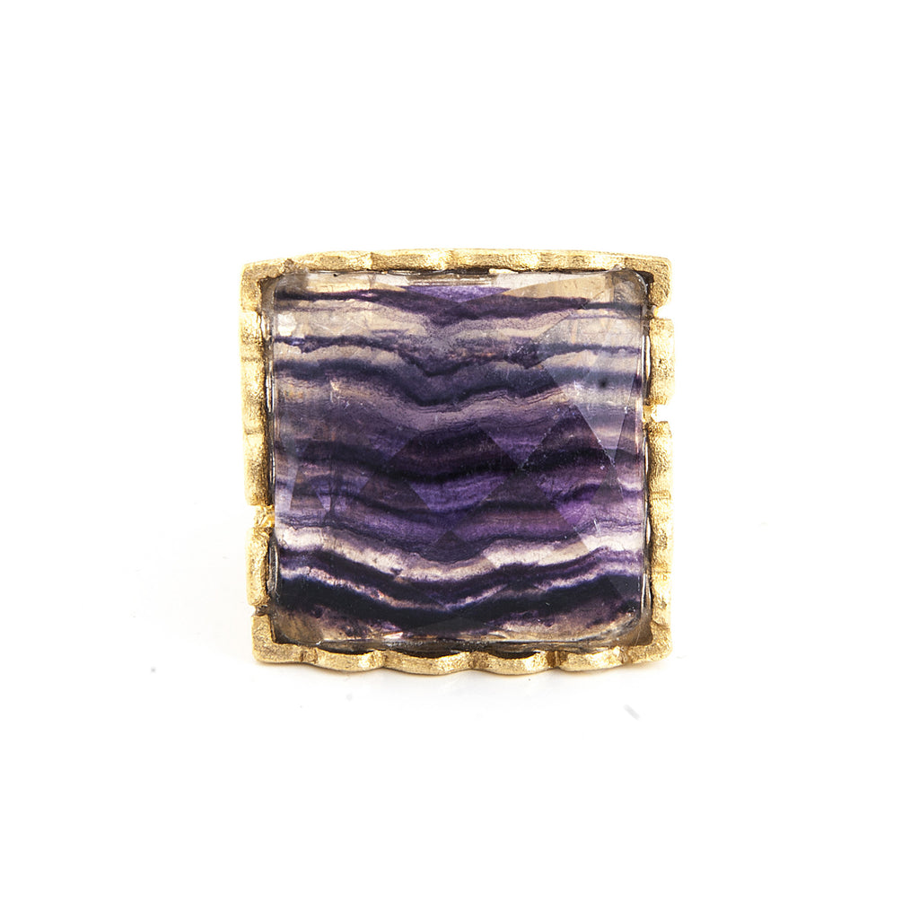 Fluorite Square Scalloped Edge Cocktail Ring