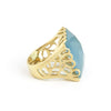 Caribbean Blue Quartzite Square Scalloped Edge Cocktail Ring
