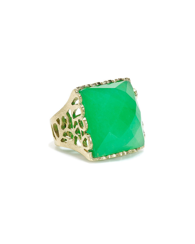 Green Quartzite Square Cocktail Ring